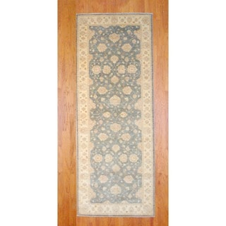 Afghan Hand-knotted Gray/ Ivory Vegetable Dye Wool Runner (5'1 x 13'6)