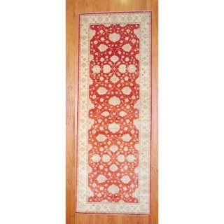 Afghan Hand-knotted Rust/ Ivory Vegetable Dye Wool Runner (4'1 x 13'10)