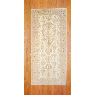 Afghan Hand-knotted Ivory/ Light Green Vegetable Dye Wool Runner (5'2 x 11'1)