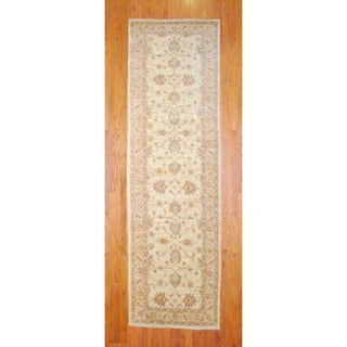 Afghan Hand-knotted Ivory/ Beige Vegetable Dye Wool Runner (4'1 x 14')