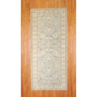 Afghan Hand-knotted Light Green/ Ivory Vegetable Dye Wool Runner (5' x 11'5)