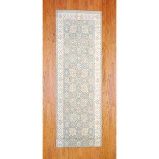 Afghan Hand-knotted Green/ Ivory Vegetable Dye Wool Runner (4' x 14'8)