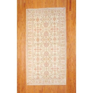 Afghan Hand-knotted Ivory/ Beige Vegetable Dye Wool Runner (5' x 9'9)