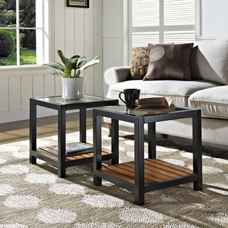 Glass Metal Antique Brown Wood Coffee Table (Set of 2)