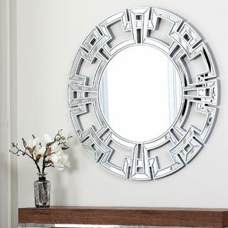 Abbyson Living Pierre Silver Round Wall Mirror