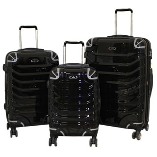 Innovator 3-piece Lightweight Hardside Black Spinner Luggage Set with TSA Lock