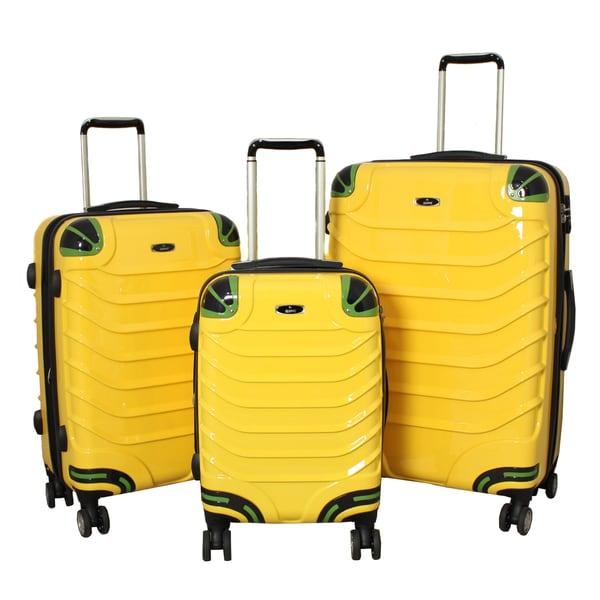 Innovator 3-piece Lightweight Hardside Yellow Spinner Luggage Set with TSA Lock