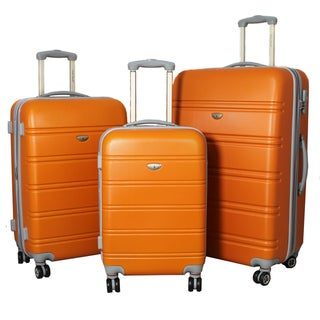 American Green Travel 3-piece Lightweight Expandable Orange Hardside Spinner Luggage Set with TSA Lock