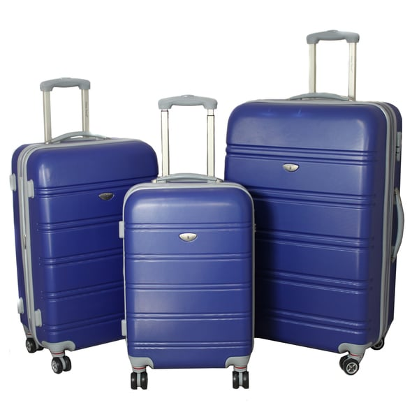 American Green Travel 3-piece Lightweight Expandable Blue Hardside Spinner Luggage Set with TSA Lock