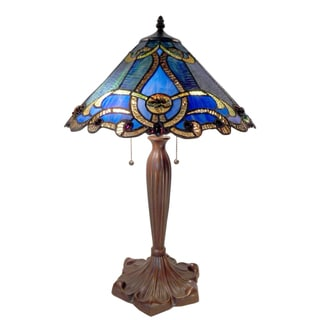 Tiffany Style Blue Octavion Table Lamp