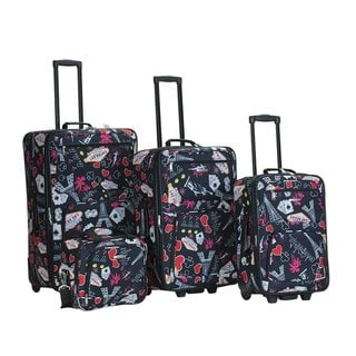 Rockland Las Vegas Black 4-piece Expandable Luggage Set