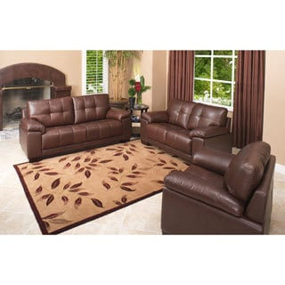 Abbyson Living Lexington 3-Piece Premium Top-grain Leather Sofa, Loveseat, Armchair Set