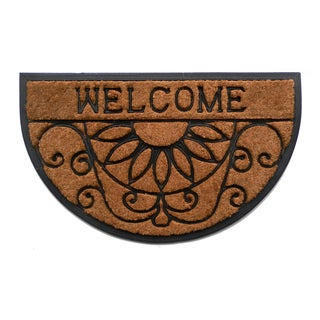 Tuff Brush Coir Rubber Welcome Scroll Mat (18 x 30)