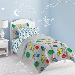 Space Rocket Twin-size 5-piece Bed in a Bag with Sheet Set