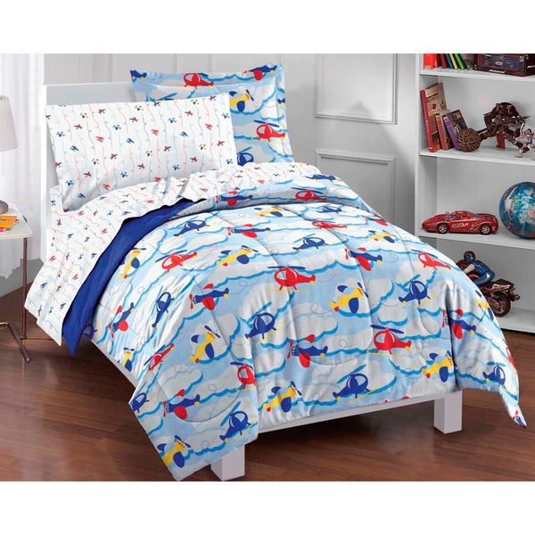 Planes And Clouds 5 Piece Twin Size Bed In A Bag With