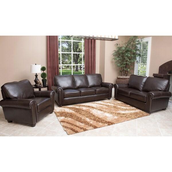 Abbyson Living London 3 Piece Premium Top Grain Leather Sofa Loveseat Armchair Set 14785428