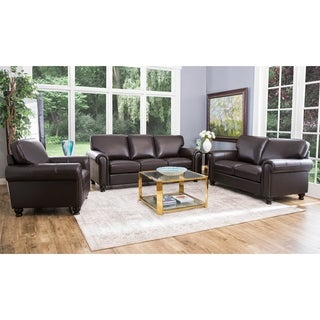 Abbyson Living London 3-Piece Premium Top-grain Leather Sofa Loveseat Armchair Set