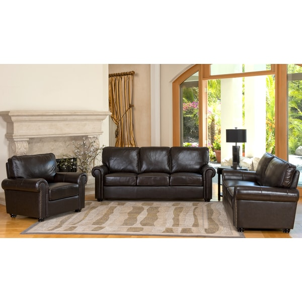 Abbyson living london 3 piece premium top grain leather sofa loveseat