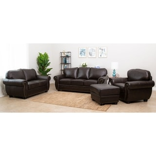 ABBYSON LIVING Richfield 4-Piece Premium Top-grain Leather Sofa, Loveseat, Armchair, Ottoman Set