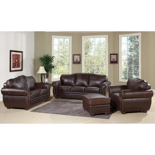 Abbyson living richfield 4 piece premium top grain leather for Best deals on living room furniture sets