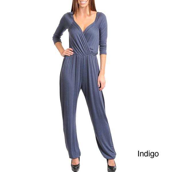 Stanzino Women's Solid Surplice Neckline Jumpsuit