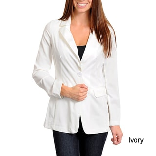 Stanzino Women's Single-button Satin Lapel Blazer