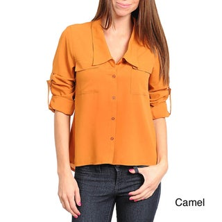 Stanzino Women's Button Front Shirt with Roll-up Sleeves