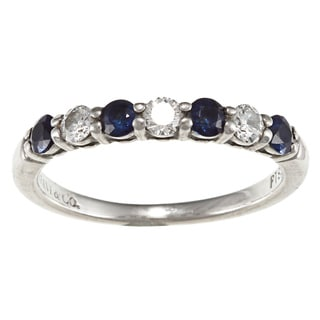 Tiffany & Co. Platinum Sapphire and 1/4ct TDW Diamond Ring (G-H, VS1-VS2)