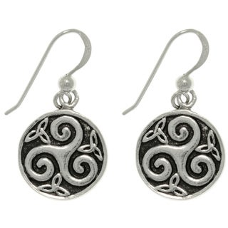 CGC Sterling Silver Celtic Trinity Spiral Round Dangle Earrings