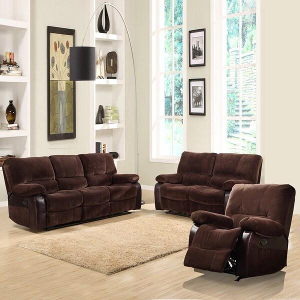 Wishaw 3-piece Dark Brown Microfiber Sofa Set