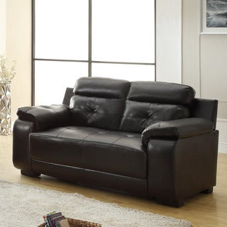 Arcata Black Bonded Leather Loveseat