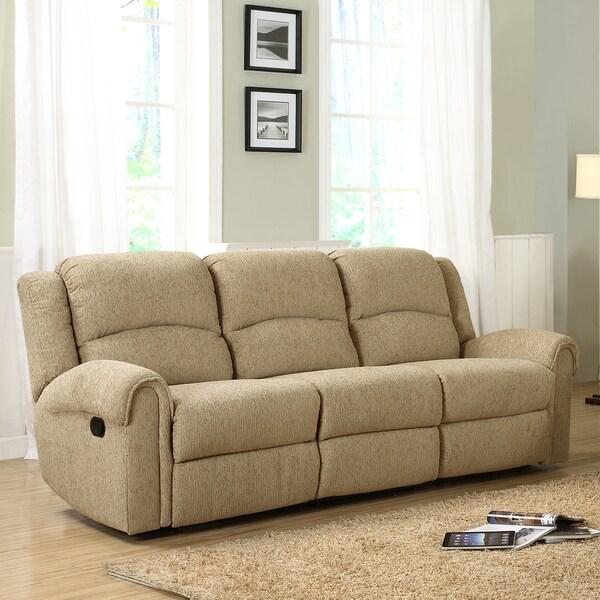 Polmont Beige Chenille Recliner Sofa