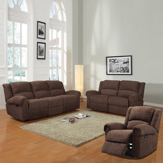 Polmont Dark Brown Chenille 3-piece Sofa Set
