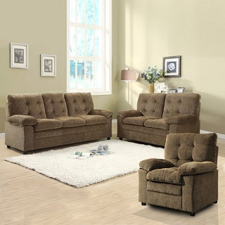 Sequoia 3-piece Golden Brown Chenille Sofa Set