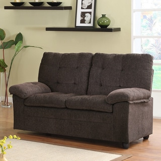 Sequoia Chocolate Chenille Tufted Transitional Loveseat