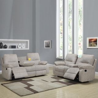 Corbridge Light Beige Chenille 2-piece Recliner Sofa and Loveseat Set