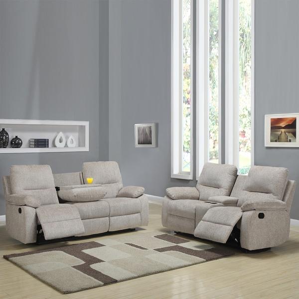 Corbridge Light Beige Chenille 2-piece Recliner Sofa and Loveseat Set