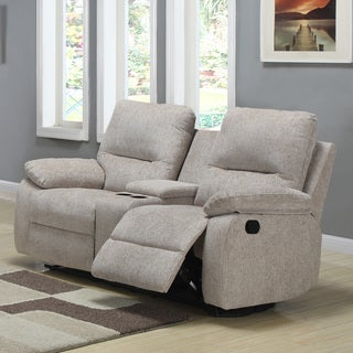 TRIBECCA HOME Corbridge Light Beige Chenille Double Recliner Loveseat