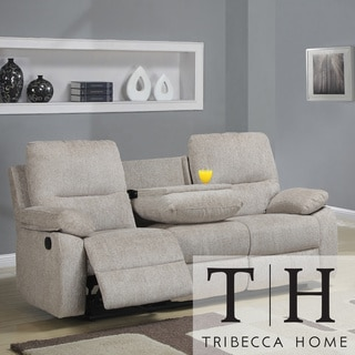 Tribecca Home Corbridge Light Beige Chenille Double Recliner Sofa