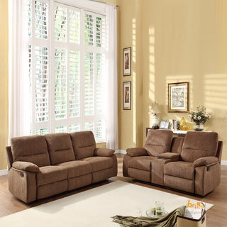 Corbridge Dark Brown Chenille 2-piece Recliner Sofa and Loveseat Set