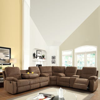 Corbridge Dark Brown Chenille 4-seater Recliner Sectional Sofa