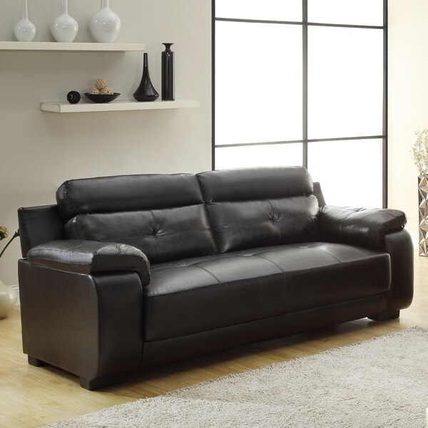 Arcata Black Bonded Leather Sofa