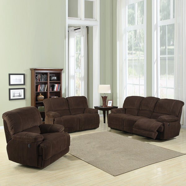 Torrey Coffee Polyester Reclining Sofa Set