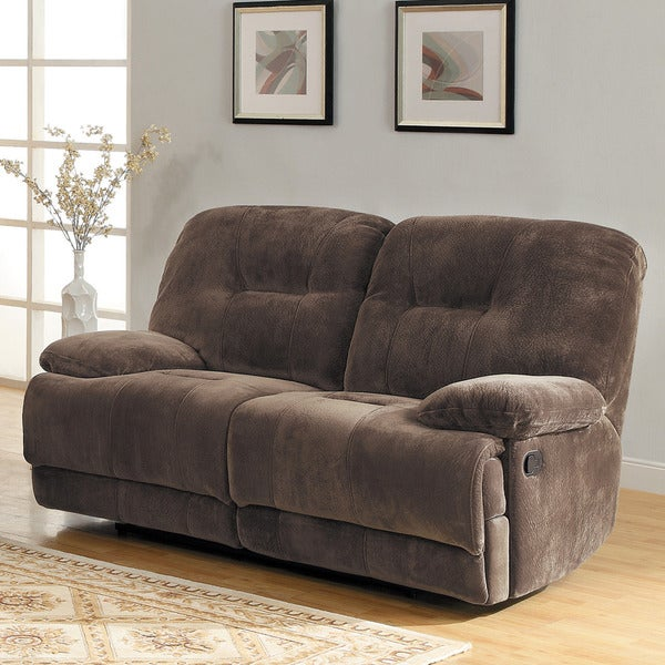 TRIBECCA HOME Felicity Chocolate Champion Microfiber Reclining Loveseat