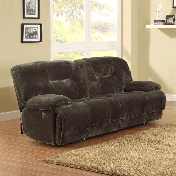 Felicity Dark Brown Microfiber Reclining Sofa