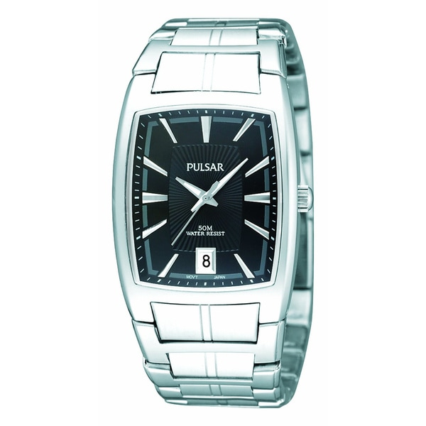 Pulsar Men's Stainless Steel Rectangular Watch