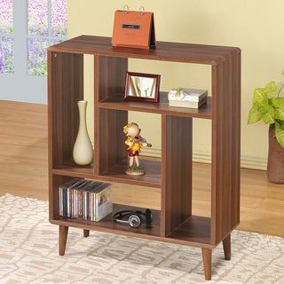 Walnut Accent Cabinet Bookshelf Display Shelf