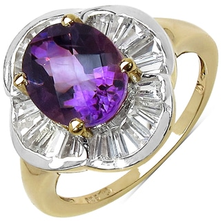 Malaika Yellow Gold overlay Sterling Silver Amethyst and White Topaz Ring