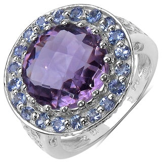 Malaika Sterling Silver Round-cut Amethyst and Tanzanite Ring