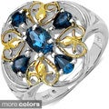Malaika Sterling Silver Blue Oval-cut Topaz or Tanzanite Ring